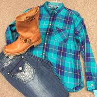 Teal Plaid Shirt with Boots & Jeans