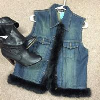 Womens Denim Vest with Fur